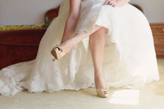 Bride in Wedding Shoes Stock Image