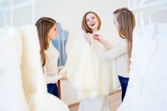 Bride at wedding shop Stock Photos