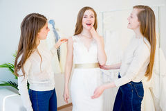 Bride at wedding shop Stock Images
