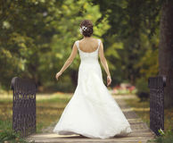 Bride at a wedding in a white dress Stock Photo
