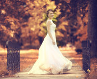 Bride at a wedding in a white dress royalty free stock photography