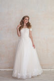 The bride at a wedding in white wedding dress stock image