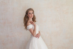 The bride at a wedding in white wedding dress royalty free stock photo