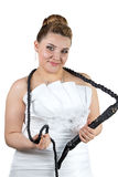 Bride with whip in white dress Royalty Free Stock Photo