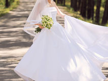 Bride Whirling in Wedding Dress Royalty Free Stock Photos