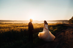 Bride whirls her magnificent dress Royalty Free Stock Photo
