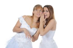 Bride whispers to friend Stock Photos