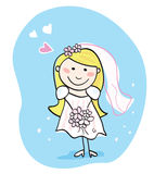 Bride in white. This beautiful bride in white dress is still waiting for the right one. Bride – doodle character. Art  Illustration Royalty Free Stock Photo