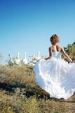 Bride with white birds. Against blue sky Stock Image