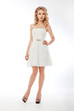 Bride in white couture wedding dress. Romantic Stock Image