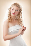 Bride in white dress Stock Photos