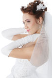 Bride in a white dress Stock Photo