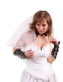 Bride in a white dress Royalty Free Stock Photography