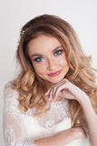 Bride in white dress beautiful eyes royalty free stock photography