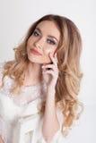 Bride in white dress beautiful eyes royalty free stock photos