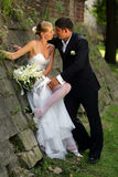 Bride in white dress with groom Stock Photo