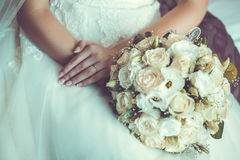 Bride in White Dress Holding Splendid Bridal Boquet. Colorful Stock Image