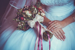 Bride in White Dress Holding Splendid Bridal Boquet. Colorful Royalty Free Stock Images