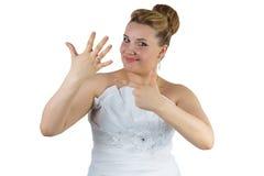Bride with white dress Stock Photos