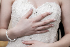 Bride in a white dress Royalty Free Stock Images