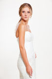 Bride in white dress posing Stock Photography