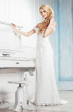 The bride in a white dress. Royalty Free Stock Photos