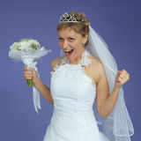 Bride in white dress shouts with happiness Royalty Free Stock Image