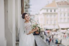 Bride in white dress Stock Images