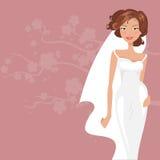 Bride in white dress. Vector illustration Stock Image