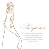 Bride in white dress.Vector illustration Royalty Free Stock Images