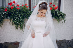 Bride in white dress. And veil, stands at the walls of the house Royalty Free Stock Image