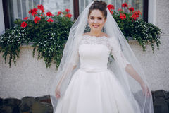 Bride in white dress. And veil, stands at the walls of the house Royalty Free Stock Photo