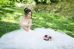 Bride in white dress, wedding, attractive woman. Nature Royalty Free Stock Photography