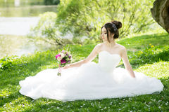 Bride in white dress, wedding, attractive woman. Nature Stock Images