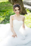 Bride in white dress, wedding, attractive woman. Nature Royalty Free Stock Images