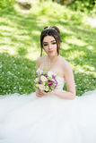 Bride in white dress, wedding, attractive woman. Nature Stock Photos