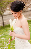 Bride white flowers Stock Image