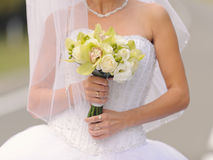 Bride with White and Green Bouquet Stock Photography
