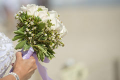 Bride white roses bouquet Royalty Free Stock Photo