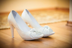 Bride white shoes Stock Photos