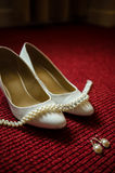 Bride white shoes Royalty Free Stock Image