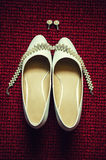 Bride white shoes Royalty Free Stock Photo