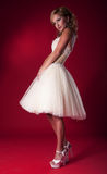 Bride in white short bridal dress. Bride in white nuptial short dress on red background standing - series of photos Stock Photography