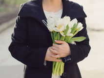 Bride with White Tulip Bouquet Royalty Free Stock Photo