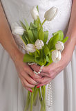 Bride with white tulips Stock Photography