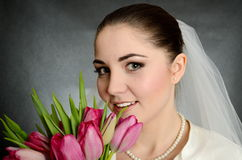 Bride with white veil and flowers Royalty Free Stock Photo