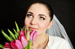 Bride with white veil and flowers Royalty Free Stock Image