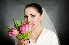 Bride with white veil and flowers Royalty Free Stock Images