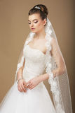 Bride with White Veil in Reverie. Young Romantic Newlywed with White Veil in Reverie Royalty Free Stock Photos