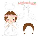 Bride White Weddind Dress Costume, Veil, Crown Pink Rose Flower ,Diadem. Head wreath. Vector Illustration. stock illustration